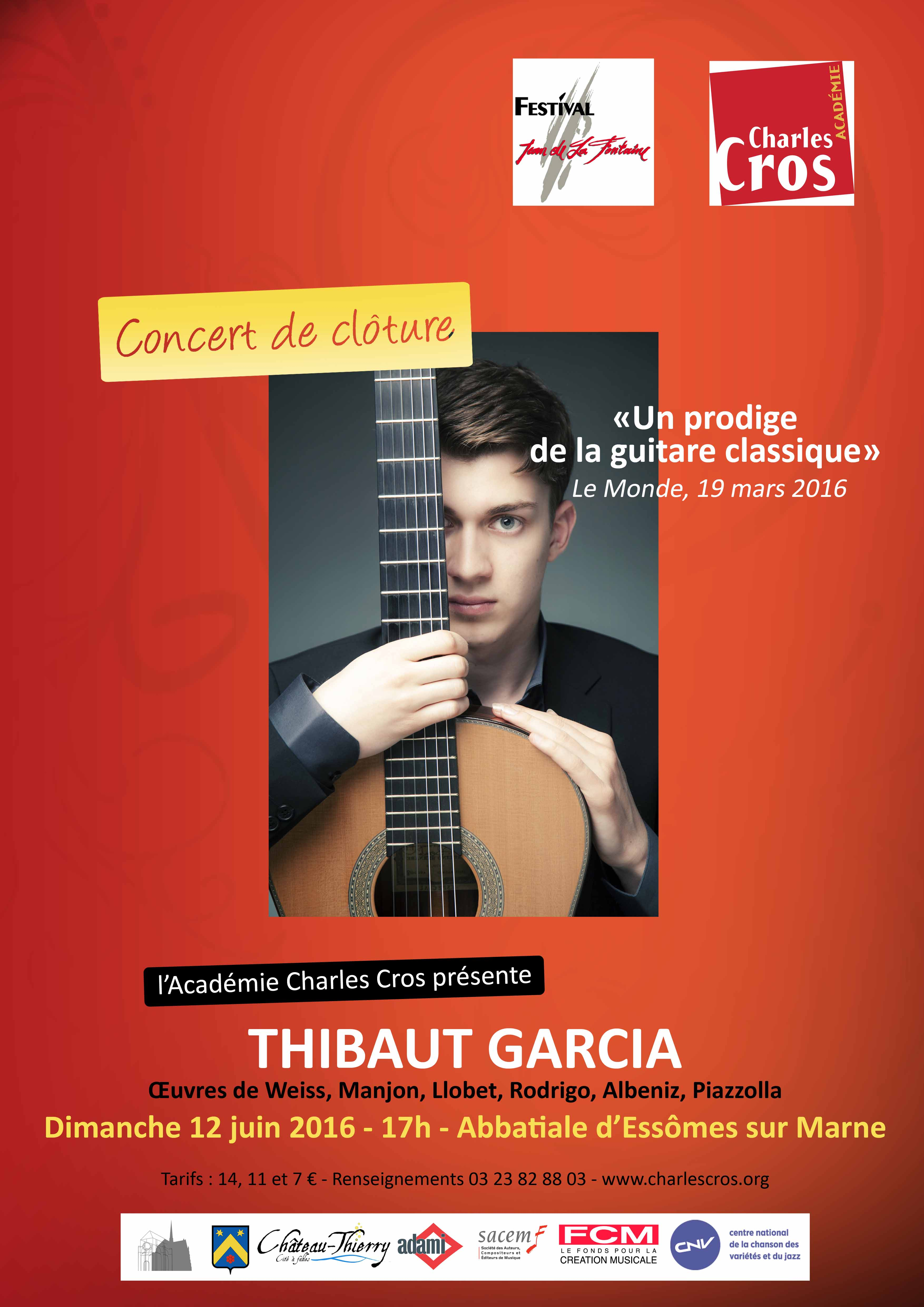 Concert de Thibaut Garcia, guitare classique, le Dimanche 12 juin 2016.